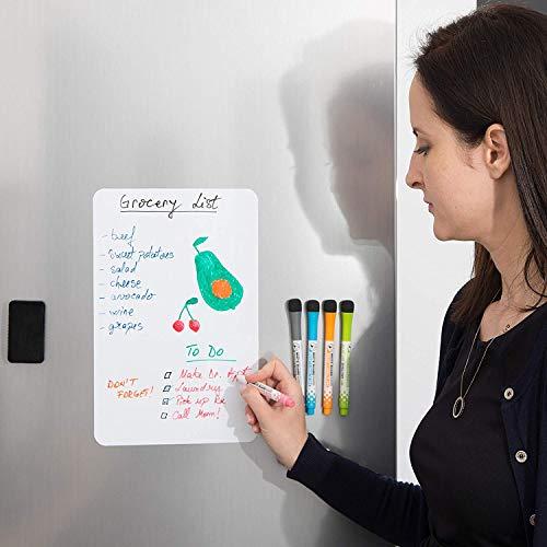 Royalkart Magnetic Dry Erase Whiteboard Sheet for Fridge (30x20cm) White Board for Refrigerator - Kitchen Whiteboard - Refrigerator Magnets