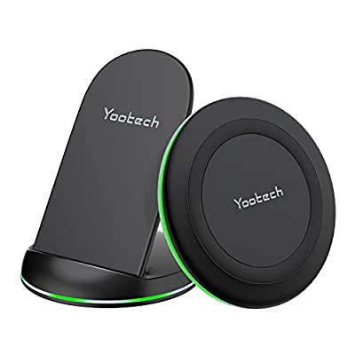 Yootech Wireless Charger, [2 Pack] Qi-Certified 10W Max Wireless Charging Pad Stand Bundle,Compatible with iPhone 11/11Pro/11Pro Max/XS Max/XR/XS,Galaxy Note 10/S10/S9, AirPods Pro(No AC Adapter)