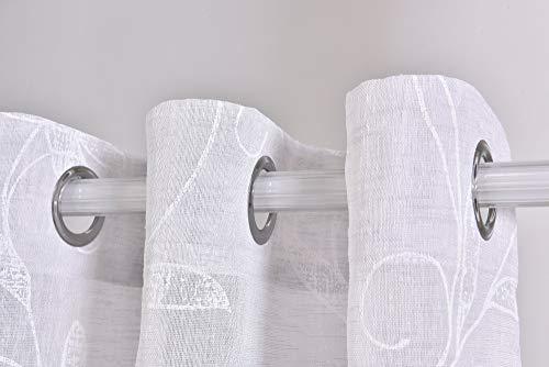 PimpamTex – Cortina Translúcida con 8 ollaos, 140x260 cm, para salón, habitación y Dormitorio. Modelo Clavel (Gris Perla)