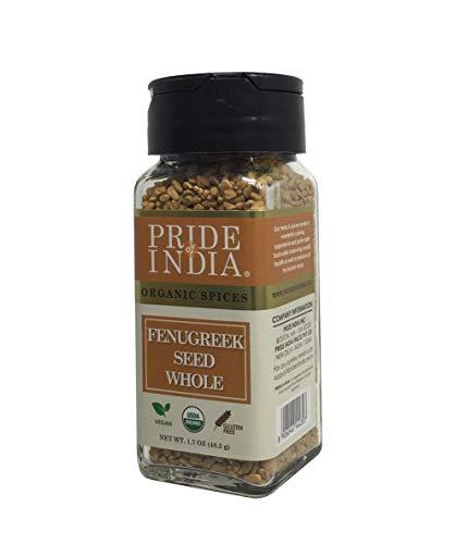 Pride Of India - Bio-Bockshornkleesamen ganz, 48 g Dual-Sifting-Glas, authentische indische ganze Methi-Samen, gluten- und gentechnikfrei