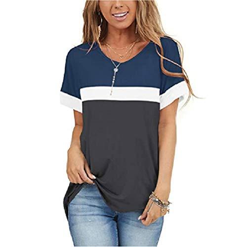 LQIQI Damen T-Shirt Kurzarm Casual Top V-Ausschnitt Baumwolle Einfarbig Farbanpassung Klassik Kein Ausbleichen Blusen Shirt,Blau,S
