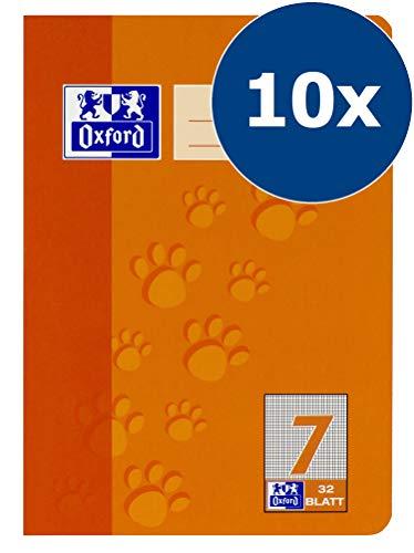 Oxford 100050380 - Quaderno scolastico, A5, lineatura 7 a quadretti, 7 mm, 32 fogli, carta ottica 90 g/m², confezione da 10 pezzi, colore: Arancione