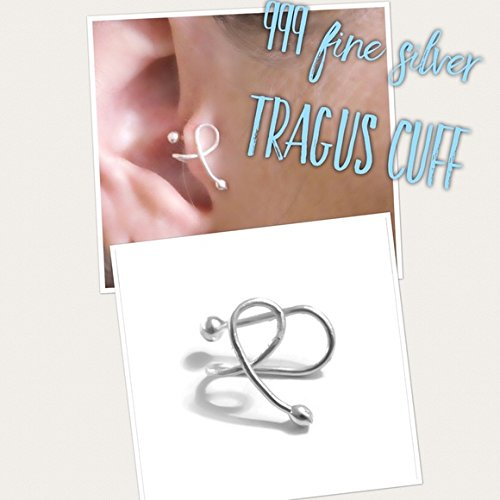 L-Shaped Tragus Ear Cuff Clip On Adjustable One Size Fits All 999 Fine Sterling Silver