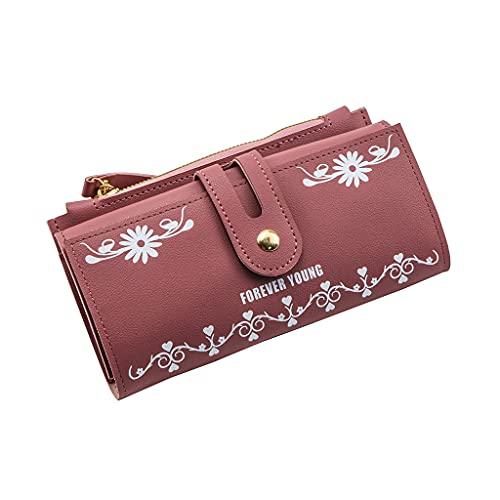 wallet Portamonete Triplo con Grande capacità (Marrone, Nero, Marrone, Albicocca Chiaro, Pasta di Fagioli, Polvere)