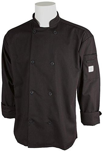 Mercer Culinary M60010BK4X Millennia Men's Cook Jacket with Traditional Buttons, 4X-Large, Black