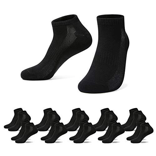 Falechay Herren Damen Sneaker Socken Sportsocken 10Paar Halbsocken, 43-46, 10*schwarz
