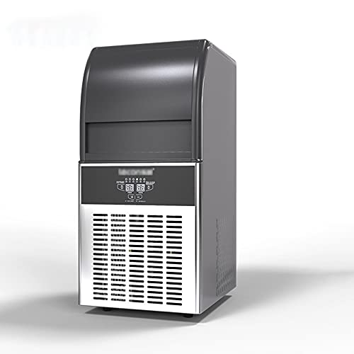 XLOO Ice Maker Stainless Steel,55kg/24h,50 Ice Trays,12-Minute Production Cycle,Automatic Cleaning,Supermarket,Coffee Shop,Bakery,Bar,Restaurant