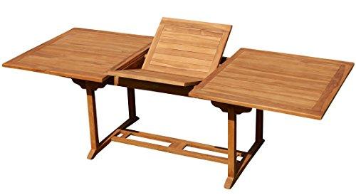 ASS Teak XXL Ausziehtisch 150/200-210 x 90 cm Holztisch Gartentisch Garten Tisch Holz SABA von Größe:150-210 x 90cm