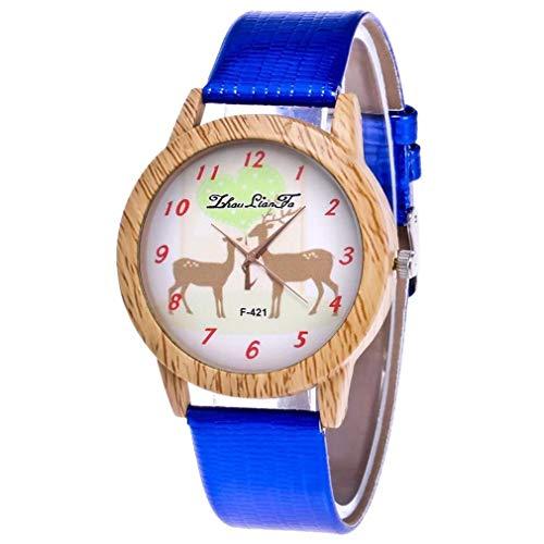 Scpink Damen-Uhren, analog, aus Holz, Modell der Weihnachts-Elch, für Frauen, aus Holz