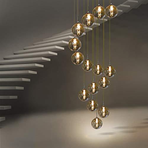 CBJKTX Pendelleuchte esstisch Pendellampe Höheverstellbar Kronleuchter Hängeleuchte 15-Flammig aus Glas Küchen Wohnzimmerlampe Schlafzimmerlampe Flurlampe (Rauchgrau, 15-flammig)