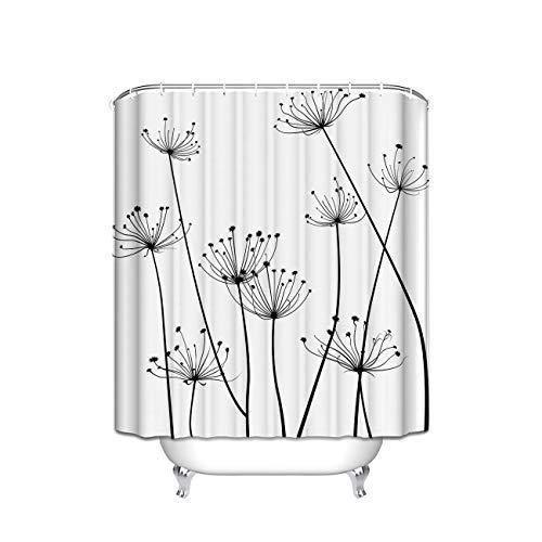 Duschvorhang, Distel-Design, Stoff, 183 x 213 cm, Schwarz/Weiß