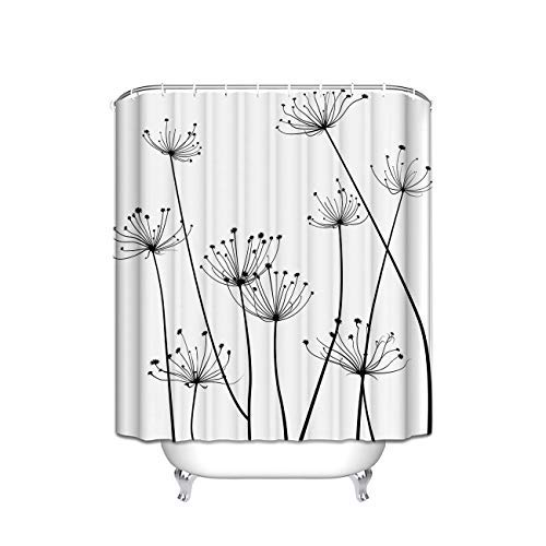 Distel Design Stoff Duschvorhang, Schwarz/Weiß, Polyester, schwarz/weiß, 72