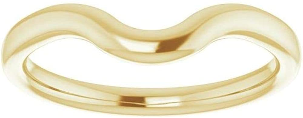 Solid 18K Yellow Gold Curved Notched Wedding Band for 9x9mm Cushion Ring Guard Enhancer - Size 7