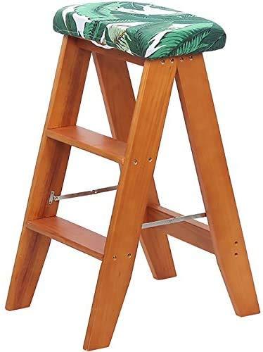 WLD Sgabello a gradini, stile europeo in legno massello Marrone semplice, Sgabello a gradini pieghevole multifunzione Balcone Sgabello a gradino per c