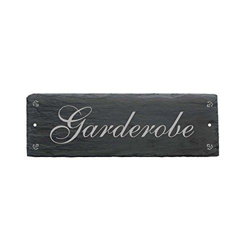 Schild « GARDEROBE » aus Schiefer - ca.22 x 8 cm - Türschild