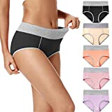 POKARLA Women's Soft Cotton Briefs Underwear Breathable High Waist Full Coverage Ladies Hipster