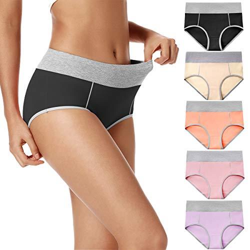 POKARLA Women's High Waisted Cotton Underwear Soft Breathable Panties Stretch Briefs Regular & Plus Size 5-Pack