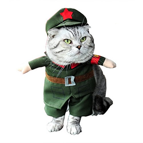 Selmai - Disfraz de soldado para perro, con chaqueta militar y sombrero, para todas las estaciones, color verde, para perro pequeño, gato o cachorro
