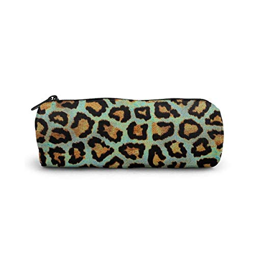 Teal Leopard Chic Animal Print Estuche para lápices Estuche para lápices con cremallera Estuche para...