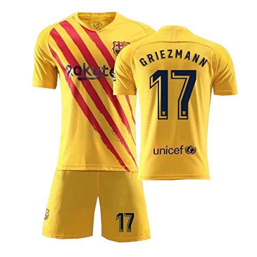 ZGDGG T-Shirt Set Fußball Barcelona Blau Saison 2020-2021 Replica for Fußballfan,Griezmann 17 Away,XXL