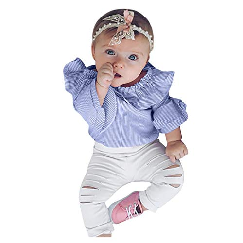 Why Choose Children's Long Sleeve Stripe Print Top Hare + Solid Hole Pants Romper Bodysuit Outfits B...