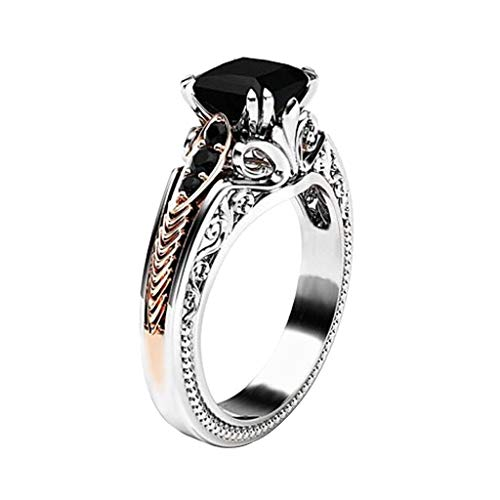 OutTop(TM) Clearance Women Copper Rings Black Gemstone Jewelry Wedding Rings Size 6-10 Birthday Christmas Gift (Black, 9)