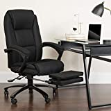 Flash Furniture High Back Black Fabric Executive Reclining Ergonomic Swivel Office Chair with Comfort Coil Seat Springs and Armrests