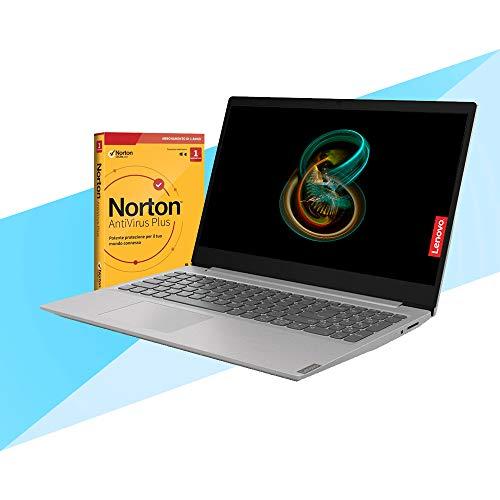 Notebook Lenovo Silver pc portatile Display 15,6  Ram 8 Gb DDR4, SSD M.2 da 256Gb , Cpu Amd A4 3020e di ultima generazione, WebCam, Hdmi, Windows 10 Pro, Pc Pronto All uso + ANTIVIRUS