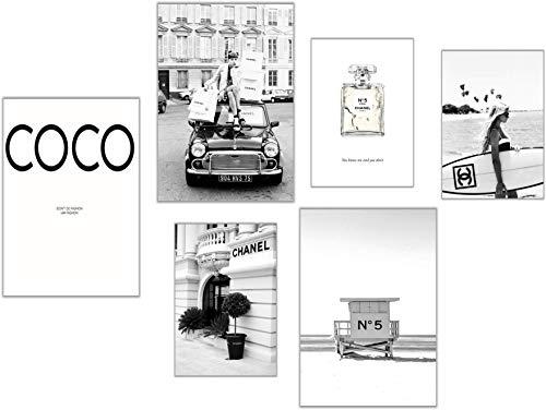 ELAFI® Premium Poster 6er Set | Bilder schwarz weiß | Deko Wohnzimmer Vintage | Bilder mit Sprüchen | Schöne Bilder Wohnzimmer groß (Coco Love)