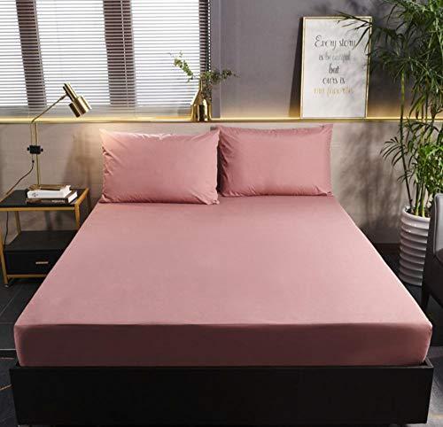 XLMHZP sabanas bajeras Ajustables,Protector de colchón de Color sólido con Cubierta de colchón Impermeable elástica Blanca/Negra Cojín Protector de sábana Ajustable para bebé-G_180x200cm+30cm