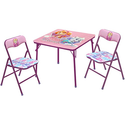 Nickelodeon Paw Patrol Girls 2Piece Folding Table & Folding Chair Set Comes with Bonus Chair Furniture