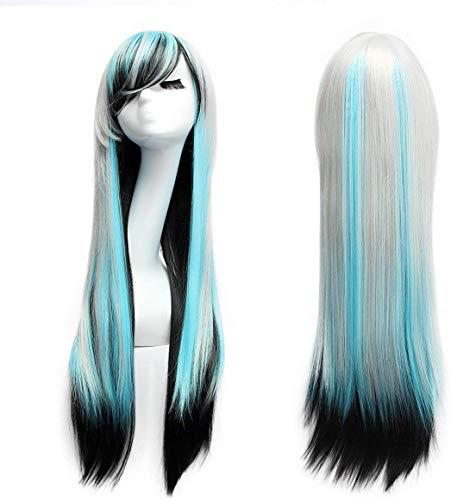 Logtronik 80cm Perruque Cosplay Longue et Raide Cheveux Naturels Noir-Gris-Bleu Idéal pour Soirée Déguisement...