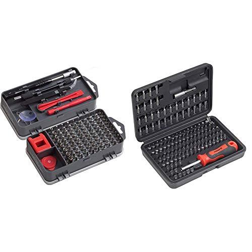 Meister Feinmechaniker-Set 108-teilig - Reparatur-Set für Smartphones, Tablets, PCs, Modellbau & Repair-Tool-Kit & Bit-Set 130-teilig - Chrom-Vanadium-Stahl - Gängige Standard- & Sicherheits-Bits