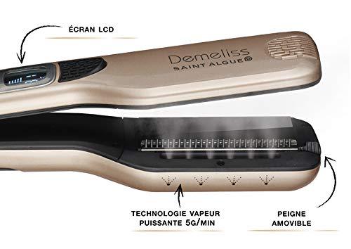 SAINT ALGUE Demeliss STEAM - Cepillo Alisador Profesional con Tecnología de Vapor, para Todo tipo de Cabello, hasta 230 °, Revestimiento de Cerámica, Contenedor de Agua de 30 ml - Dorado