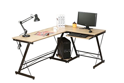 HLC Computer-Schreibtisch in L-Form, Eck-Schreibtisch, für das Büro und für zuhause, stabil, mit ausziehbarer Tastaturablage und mit Ablage für den Computer natur