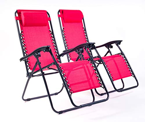 BRAVICH Weatherproof Set of 2 Reclining Sun Lounger   Heavy Duty Textoline Zero Gravity Chairs   Folding Outdoor Reclining Chair in Red