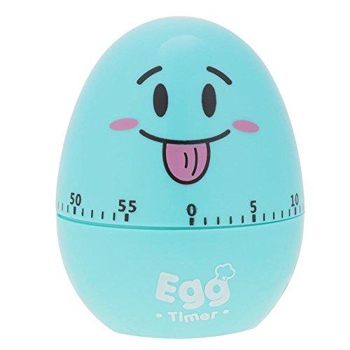 Temporizador manual de huevo de dibujos animados, alarma de plástico, herramienta de temporizador de cocina, alarma mecánica de 55 minutos(Azul)