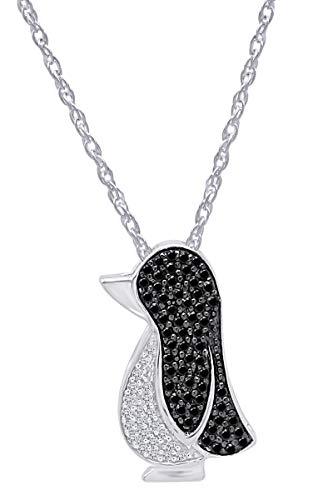 AFFY White & Black Natural Diamond Penguin Pendant Necklace in 14k White Gold Over Sterling Silver