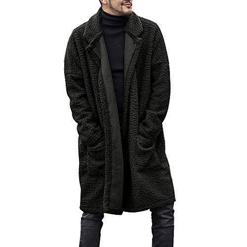 Yazidan Mode Herren wintermantel warm Faux Fur Felljacke Lose warme Plüschjacke Lange pelzige doppelseitige Mantel Langarm Winterjacke Mantel Kunstpelz Lange Jacke Dicker Cardigan