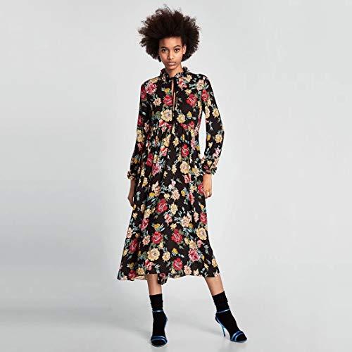Hanks 'Shop. Kleid Fliege und Schwarze Ohr-Kragen-Blumen-Lange Hülsen-Blumen-Kleid (Color : Decor, Size : XL)