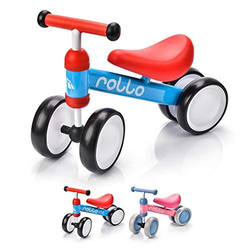 Bicicleta sin Pedales para Niños 1-5 años hasta 20 kg Ultraligera Mini Bici Bebés Infantil Andadores Bebé Equilibrio con Sillín y Manilar Regulable Ruedas bombeadas First Bike (Rollo Blue/Red)