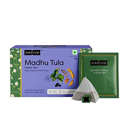 Kapiva Madhu Tula Green Tea   Helps Regulate Blood Sugar  Contains Jamun Seeds, Fenugreek and Others   20 Tea Bags