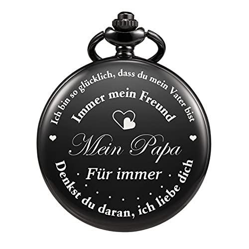 TREEWETO Gravierte Herren Taschenuhr für Papa Geschenk, Vintage Taschenuhren mit Kette für Männer, Geburtstagsgeschenk, Geschenk zum Jahrestag, Geschenk zum Vatertag Vater