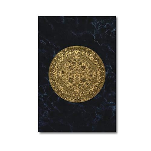 Calendario Maya Cartel de la Lona Decoración Mexicana Arte de la Pared Azteca Impresiones de la Pintura de la Lona Estilo ecléctico Cuadro de la Pared para la Sala de estar-50x70cm Sin marco