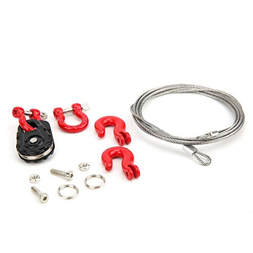 T best Steel Wire Winch Cable Rope Hook, Three-Piece Set RC Winch Rope Cable Steel Rope / Pulley / Lock Sleeve RC Model Car Climbing Vehicle Accessory