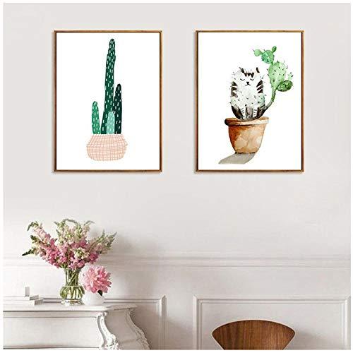 Woplmh Scandinavische stijl, verse plant, cactusmotief, kattenpot, bloempot, canvas, decoratie voor thuis, woonkamer, slaapkamer, foto, 40 x 60 cm, 2 stuks (zonder lijst)