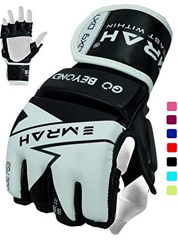 EMRAH 2.0 MMA Handschuhe für Grappling Kampfsport Sparring Boxsack Käfig Fighting Mitts Training, schwarz/weiß, Größe S
