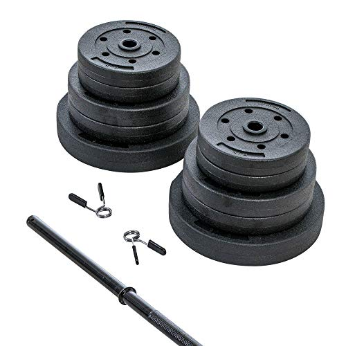 US Weight New 100 lb. Traditional Barbell Weight Set with New Upgraded 12-Gauge Steel Bar and Spring Locking Clips - Includes 20, 10 and 5 lb. Weights