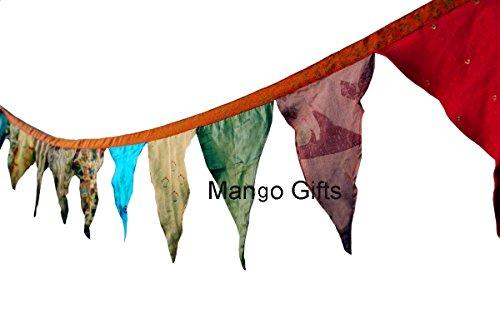 Mango Gifts handgefertigte, bunte, große, indische Fahnenkette aus recyceltem Sari mit 12 Flaggen, 200 cm lang set of 2 Pcs