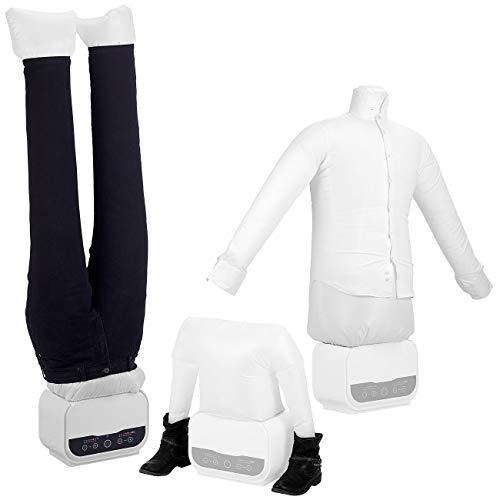 Sichler Haushaltsgeräte Wäschetrockner: Digitale 3in1-Bügelpuppe mit Hosen- & Schuhaufsatz, Timer, 1.200 Watt (Schuhtrockner)